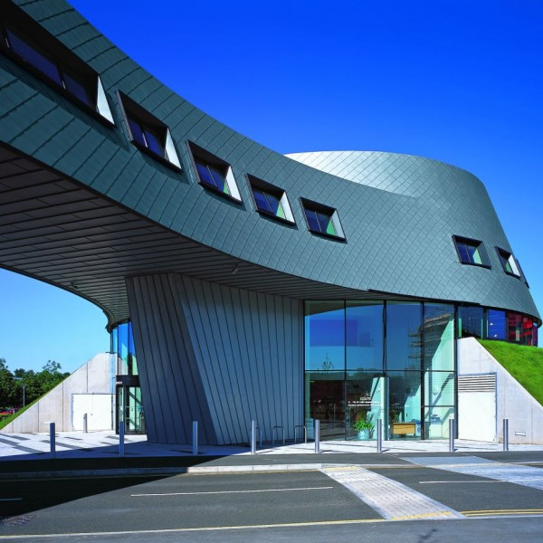 RHEINZINK U.K. - RHEINZINK U.K. - Sir Colin Campbell Building, University of Nottingham, United Kingdom, technology scales facade, sheet RHEINZINK preweatheredpro blue-gray
