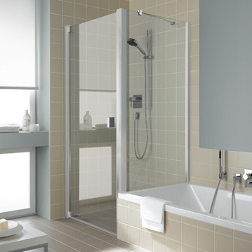 Kermi - Kermi - Swing door with fixed fields, short side wall next to the bathtub