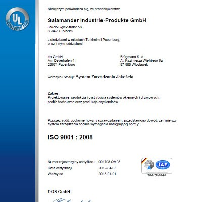 Salamander Window & Door Systems S.A. - Salamander Window & Door Systems S.A. - ISO 9001